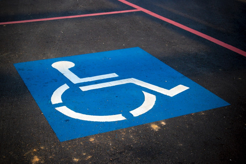 disabled person parking bay sign