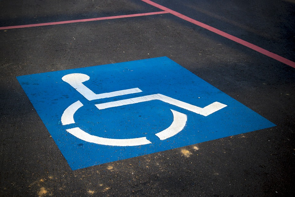 Disability symbol on a parking space