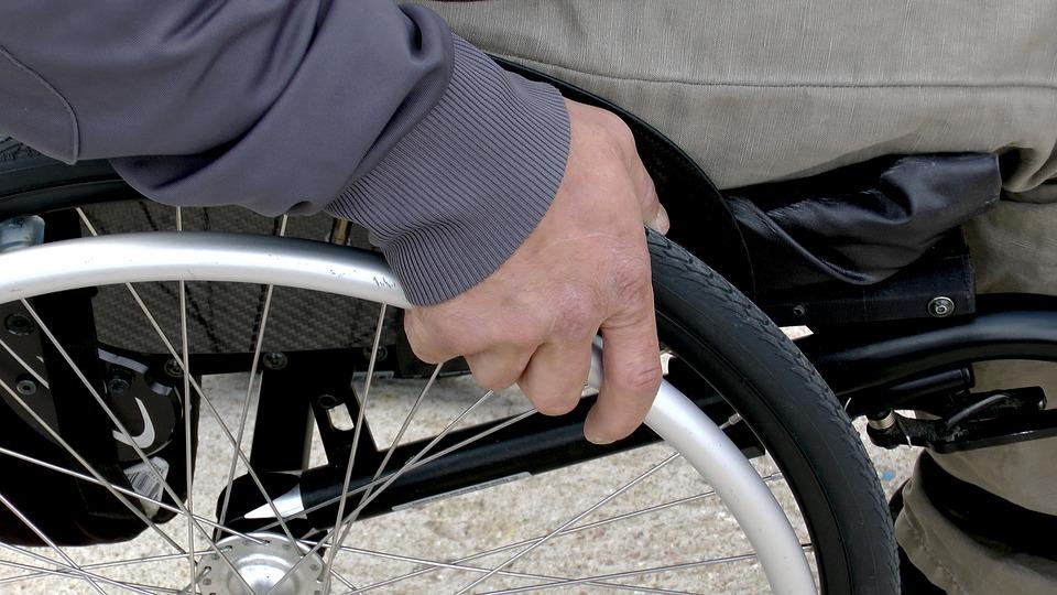Man using a manual wheelchair